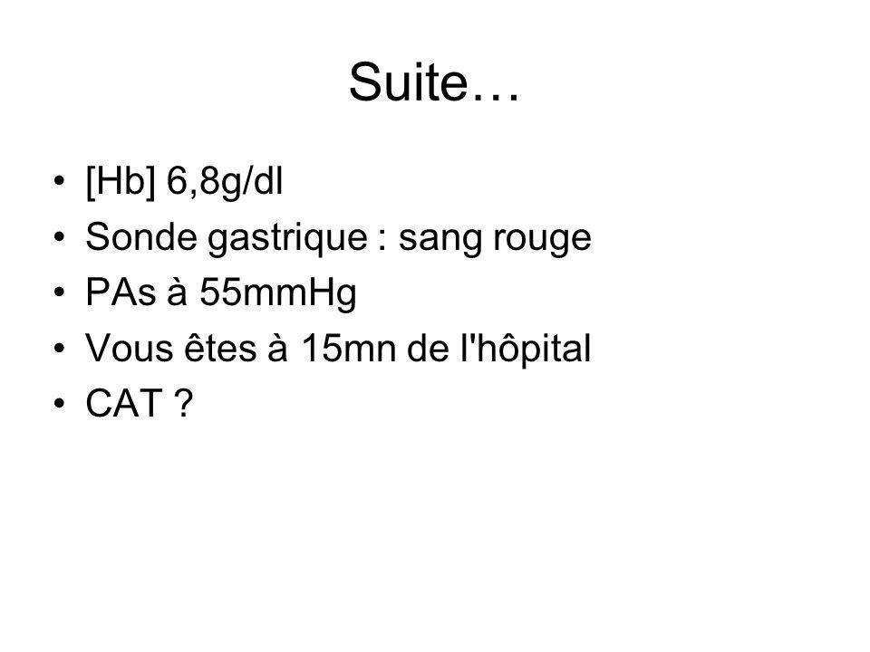 Suite… [Hb] 6,8g/dl Sonde gastrique : sang rouge PAs à 55mmHg